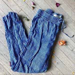 Blue and white stripped linen pants